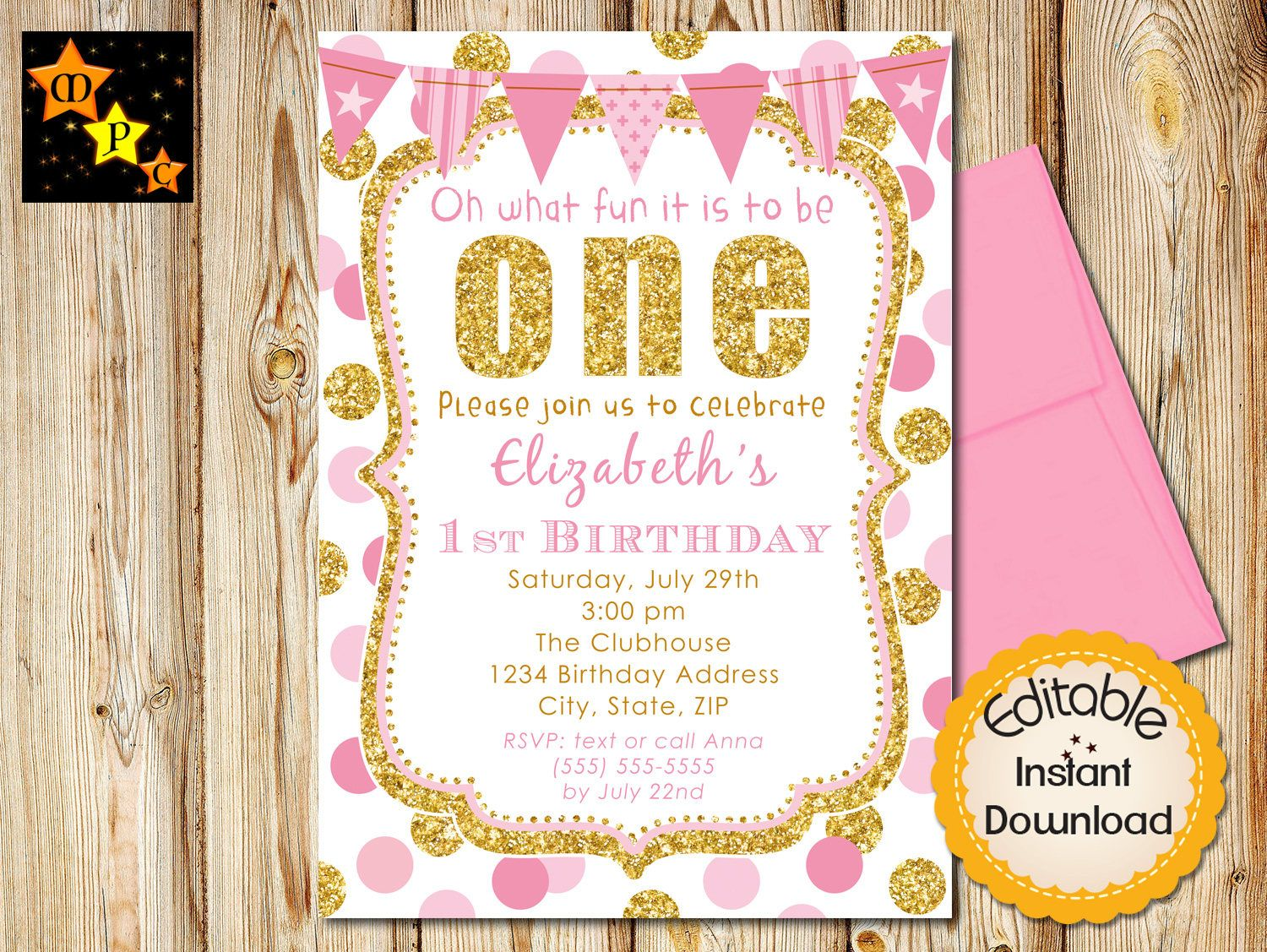 Pink and Gold First Birthday Invitation, Girl, Invite, Dots, Gold ...
