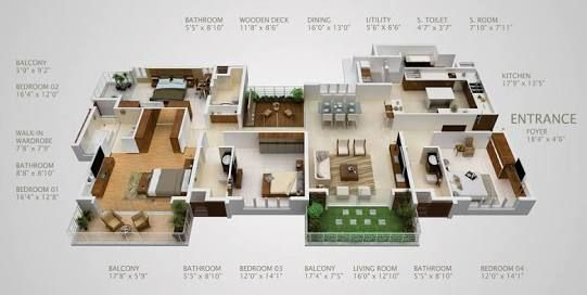 Resultado De Imagem Para 3d One Story House Plans 4 Bedroom House Plans 3d House Plans Apartment Floor Plans