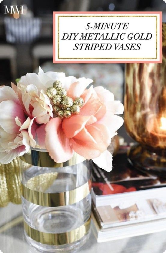 DIY Home Decor ~ Make Kate Spade Inspired Metallic Gold Striped Vases In 5  Minutes!