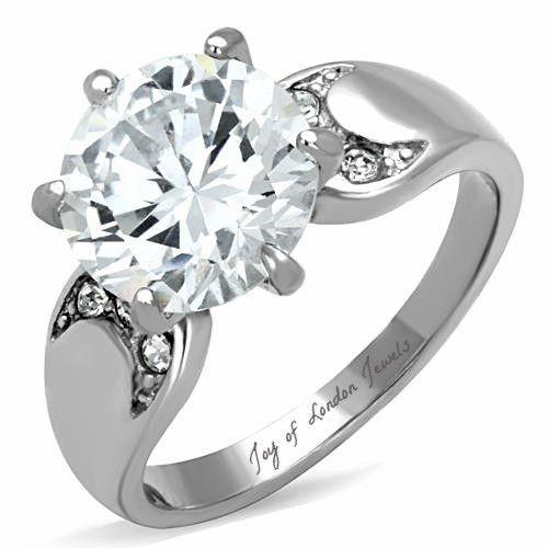 A Perfect 4ct Round Cut Solitaire Russian Lab Diamond Ring With Half Moon Accents Diamonds Are Grown By Proprietary Process That