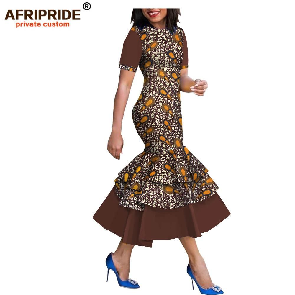 2019 spring&autumn african style dress for women AFRIPRIDE short sleeve mid-calf length 3 layers trumpet women dress A1825080 #africanstyleclothing