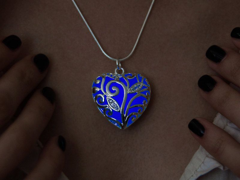 Big Blue Heart Glowing Necklace Girlfriend Gift Glow in