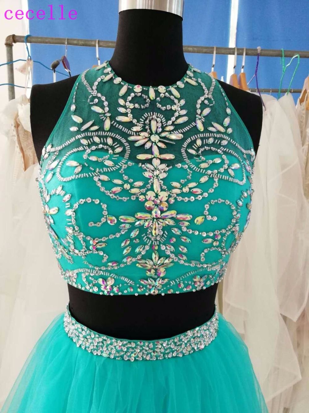 Turquoise short two pieces cocktail dresses sparkly beaded