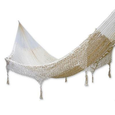 Medium image of hand made beige cotton mayan hammock  double    caribbean sands   novica
