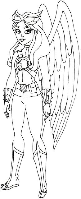 Free Printable Super Hero High Coloring Pages Hawk Girl Super Hero