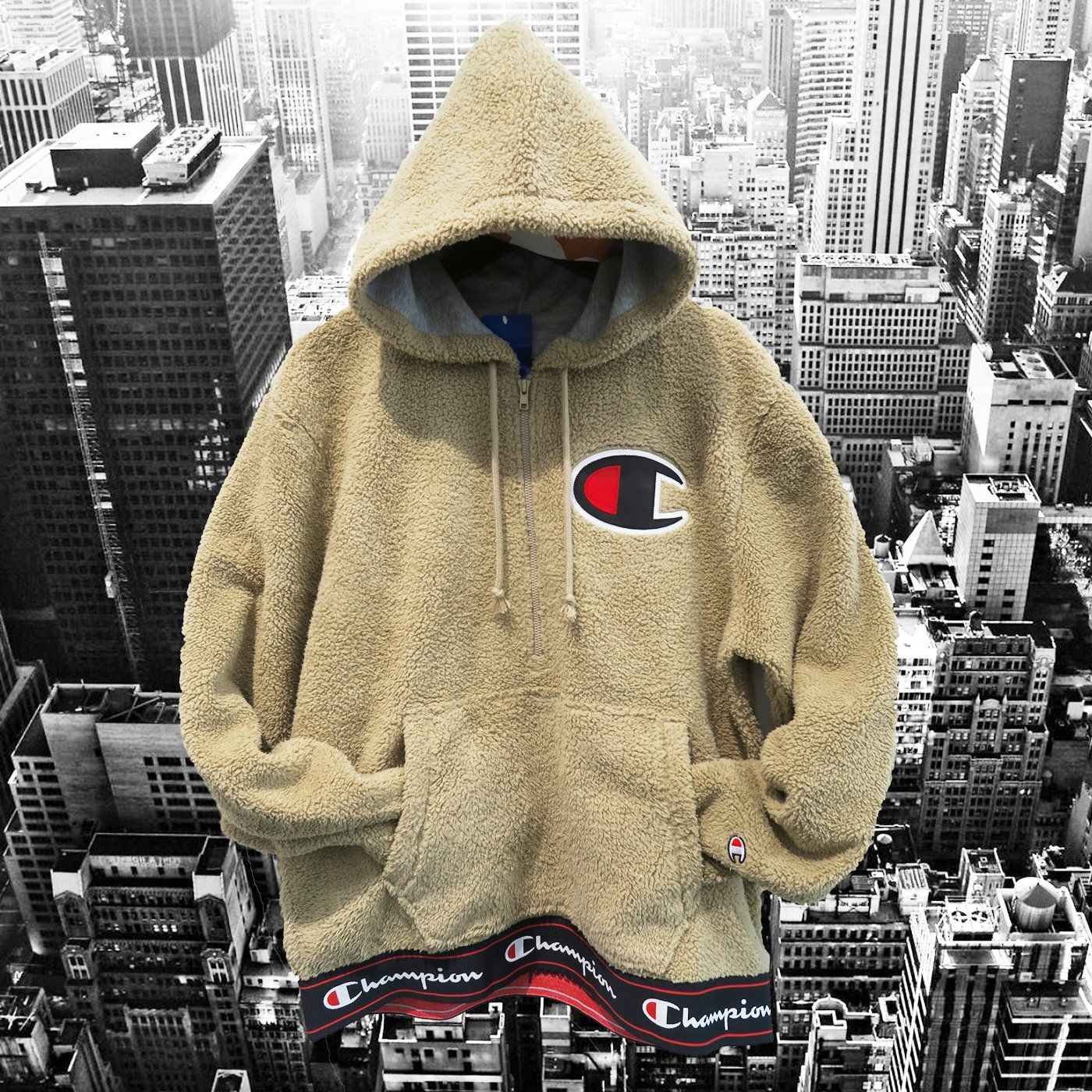 CHAMPION LIFE Sherpa Half Zip PullOver Hoodie - Khaki Tan | Khakis ...