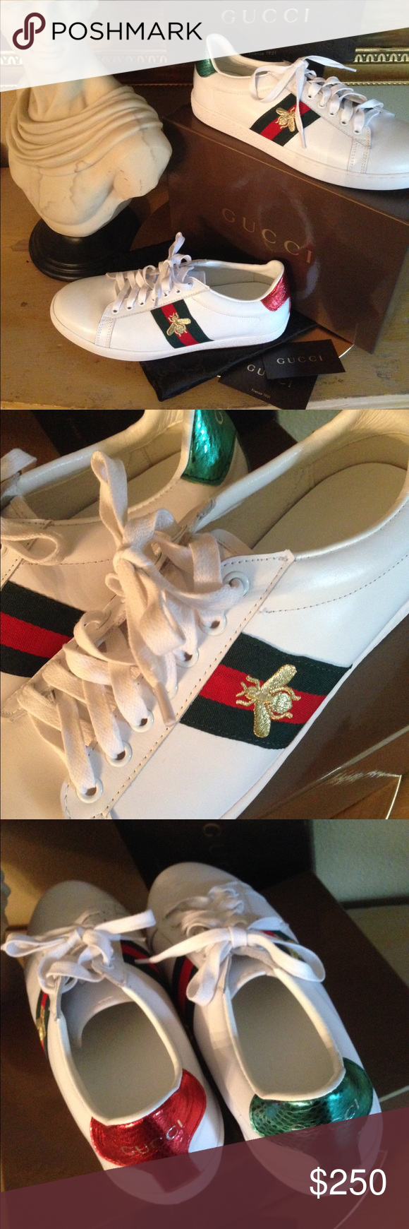 ab6af601f Authentic Gucci Ace Sneaker Authentic Gucci Ace Embroidered Low Top Sneaker,  With Gucci's Iconic Gold