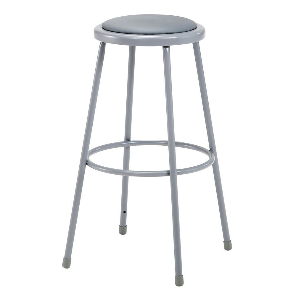 National Public Seating Vinyl Padded Stools 30 H Gray Set Of 3