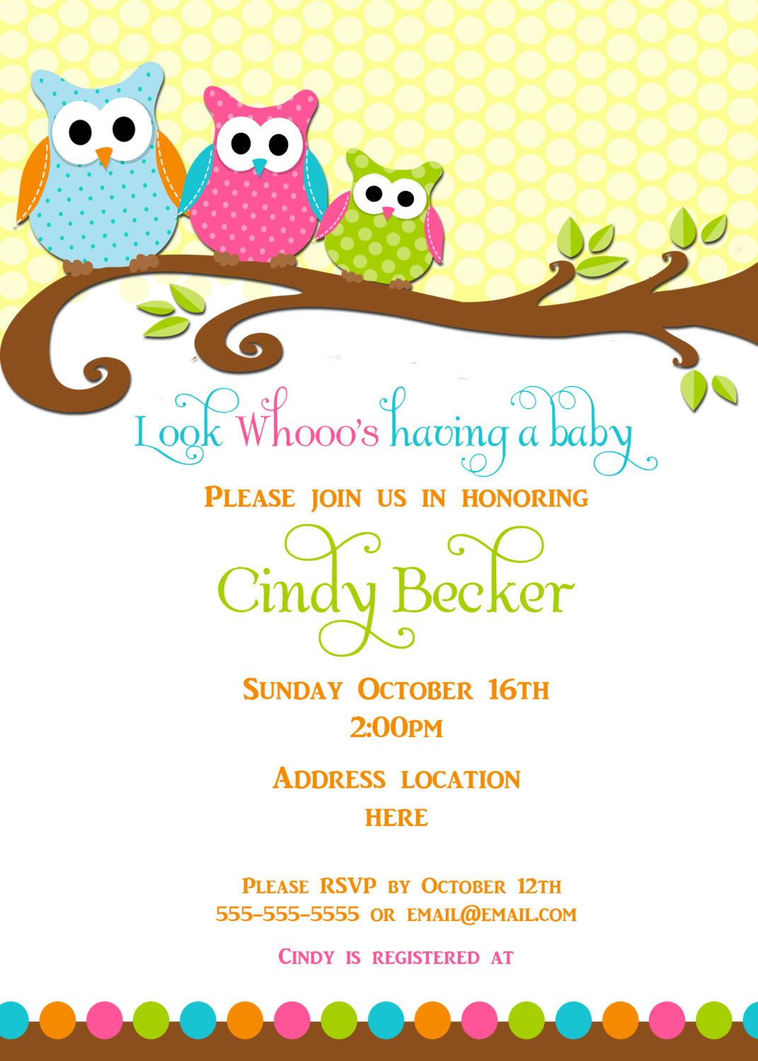 Best Owl Baby Shower Invitations Free Ideas | Invitations Card by ...