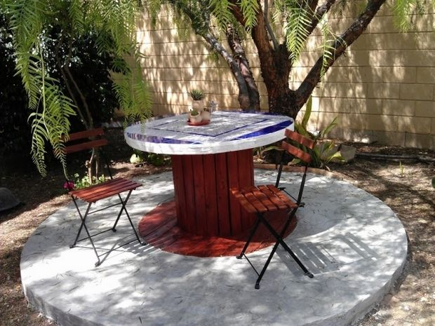 Wooden Cable Spool Garden Table Decoration Wooden Chairs Backyard Diy Patio