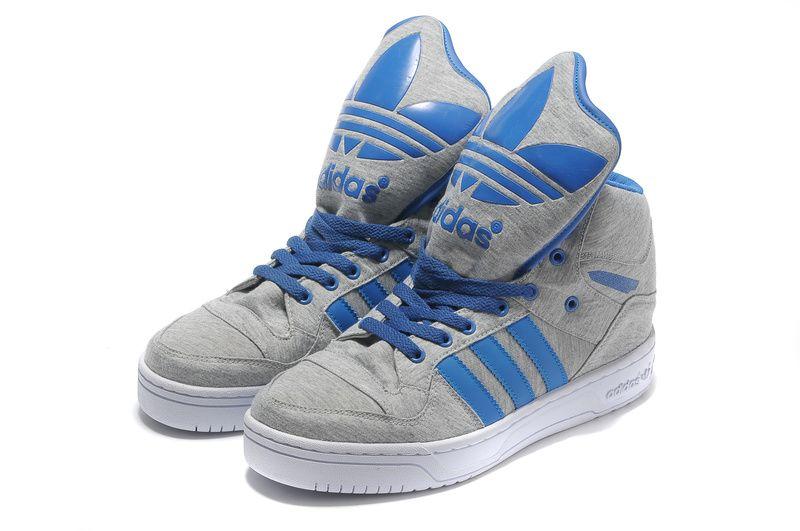 Adidas obyo m atteggiamento logo w grigio blu grande lingua scarpe mio