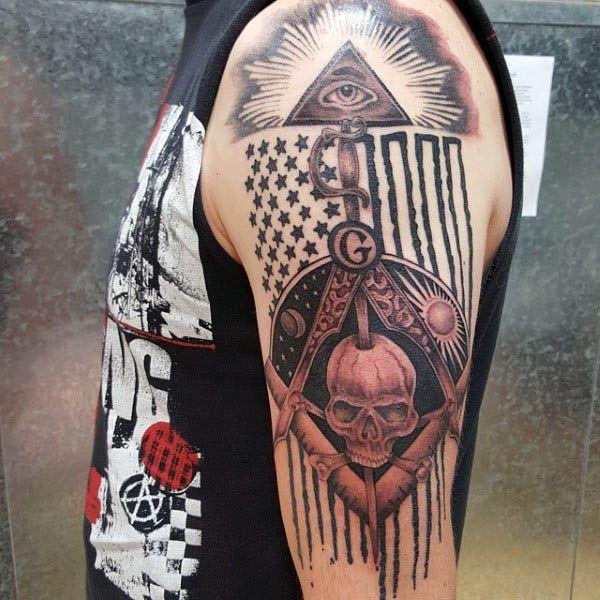 American flag masonic themed arm tattoo on male tatoo for Masonic symbol tattoos