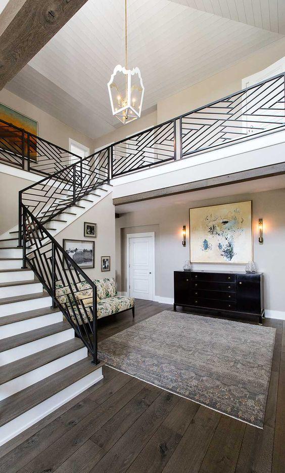 25 dise os de barandales para escaleras interiores y. Black Bedroom Furniture Sets. Home Design Ideas