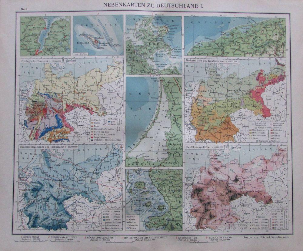 Nebenkarten Zu Deutschland I 35 X 29 Cm Karte Aus 1913 Old Map