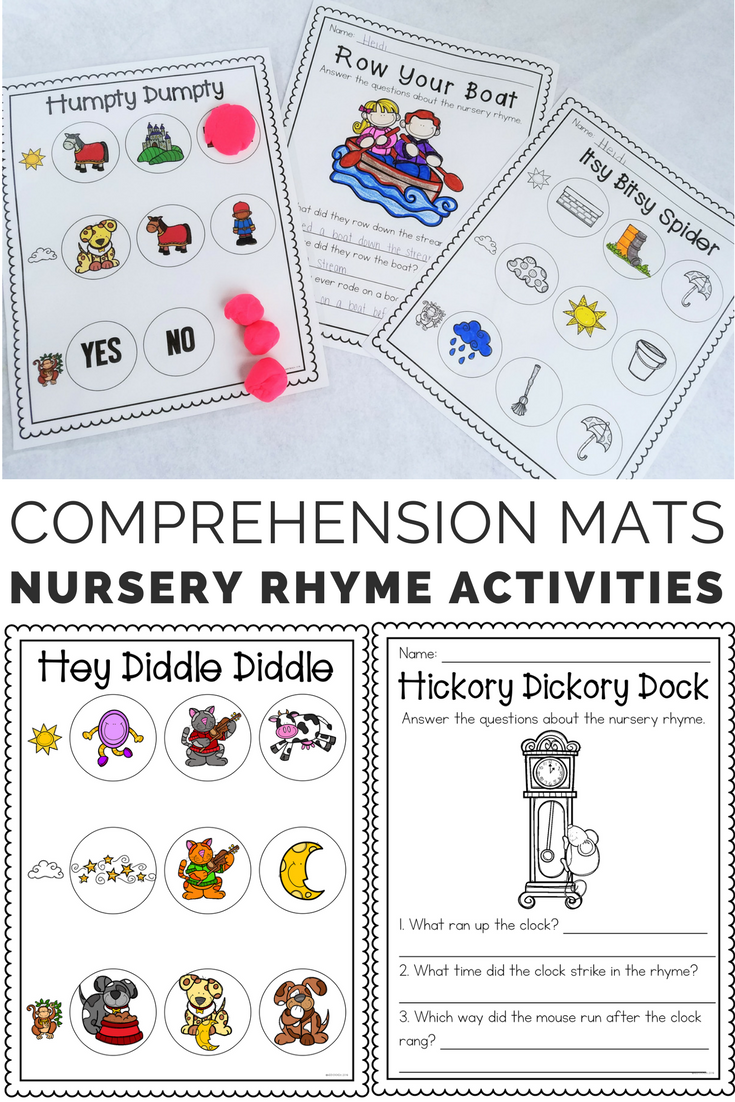 Nursery Rhyme Comprehension Mats Activity Sheets Nursery Rhymes Rhymes Comprehension
