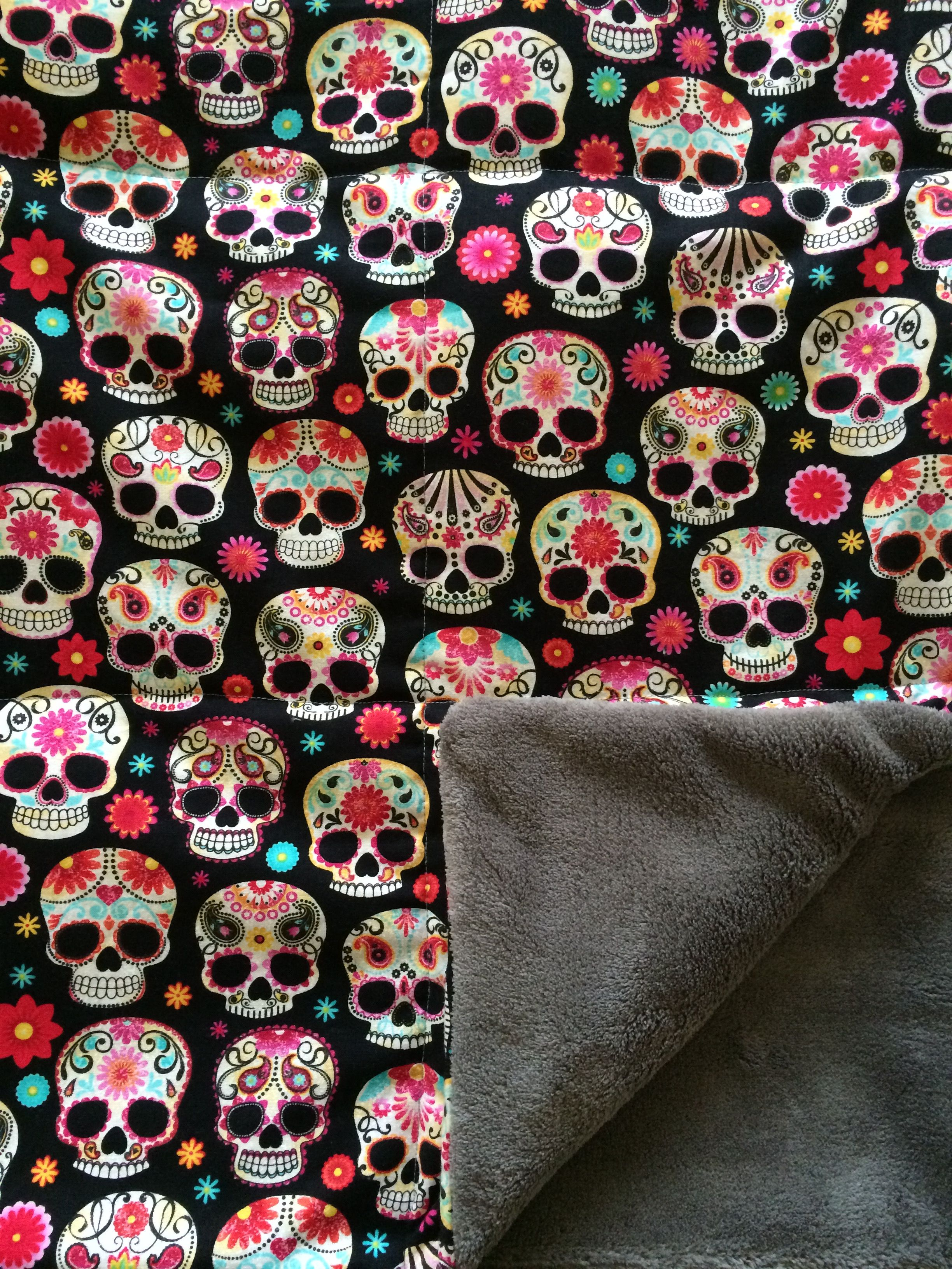 Custom sugar skull and gray minky weighted blanket. All of