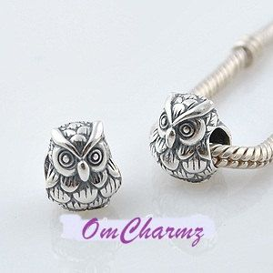 Solid 925ss Stamped Owl European Bead Charm For Bracelet European Charm Beads Silver Bracelets For Women Bead Charms