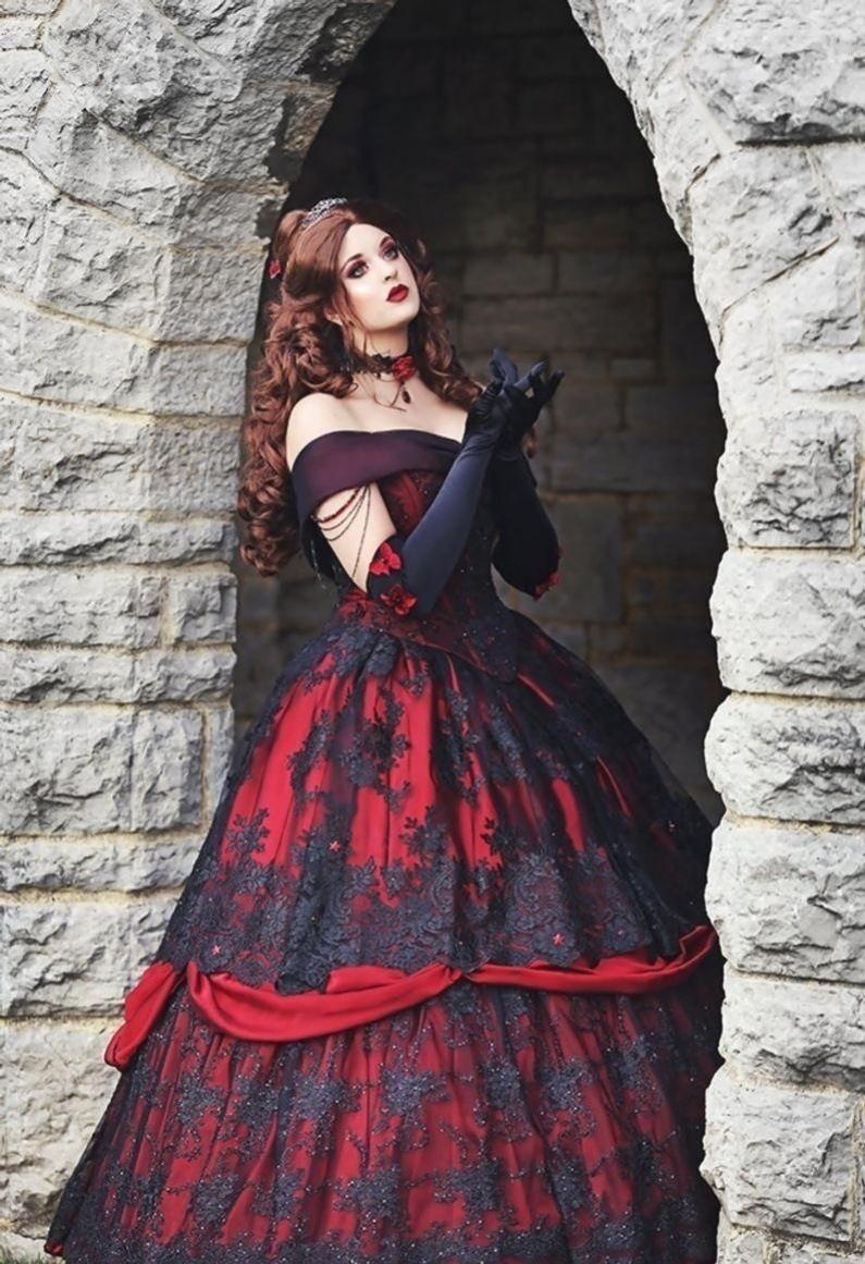 Gothic belle rot/schwarz spitze fantasy-kleid! Hochzeit Laub