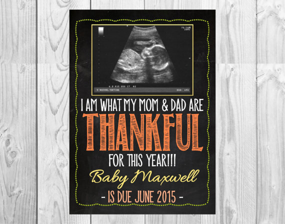 Fall Themed Pregnancy Announcement Card with Ultrasound Photo // Personalized // (5x7) *Digital File* by MMasonDesigns