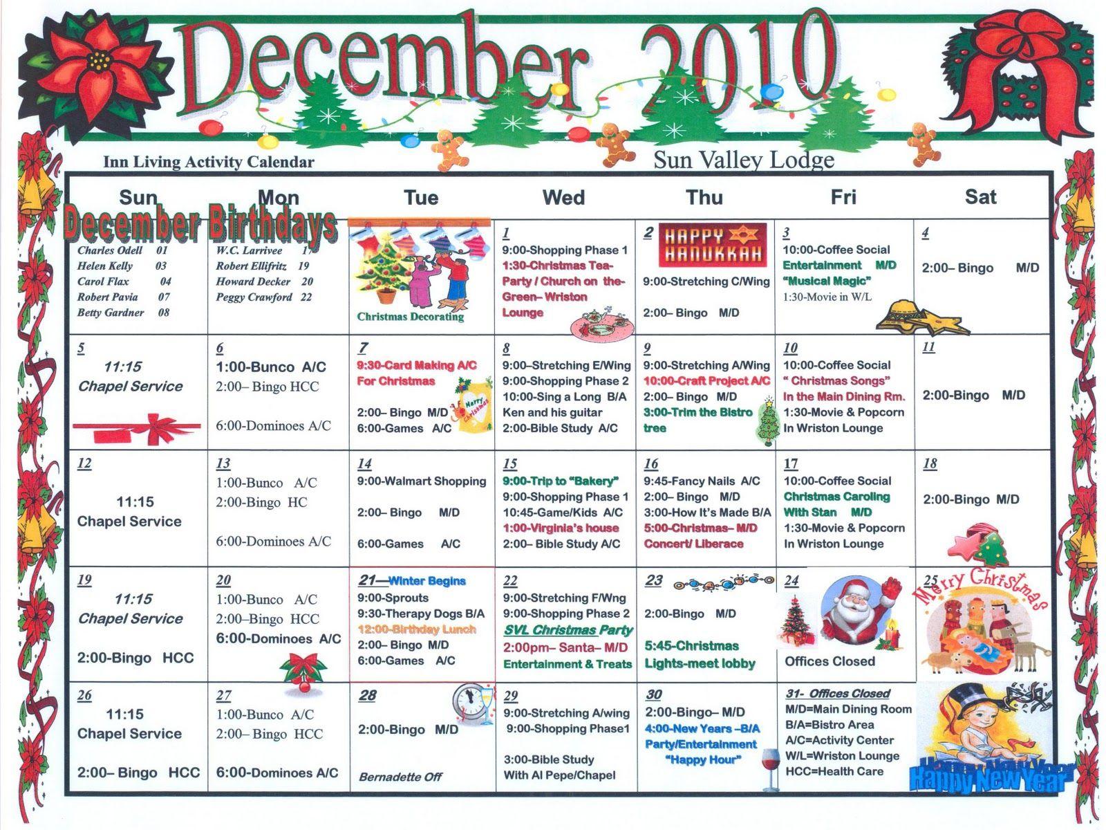 Assisted Living Activities Senior Activities December Activities Nursing home activity calendar template