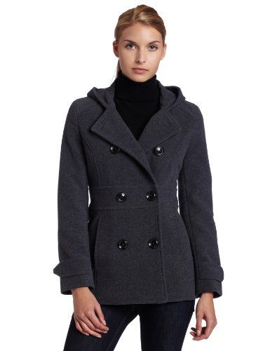 064e6622911 Kenneth Cole Reaction Women s Hooded Double Breasted Wool Coat ...