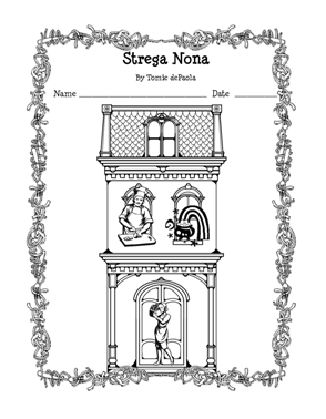 Free printable for strega nona by tomie depaola author for Tomie depaola coloring pages