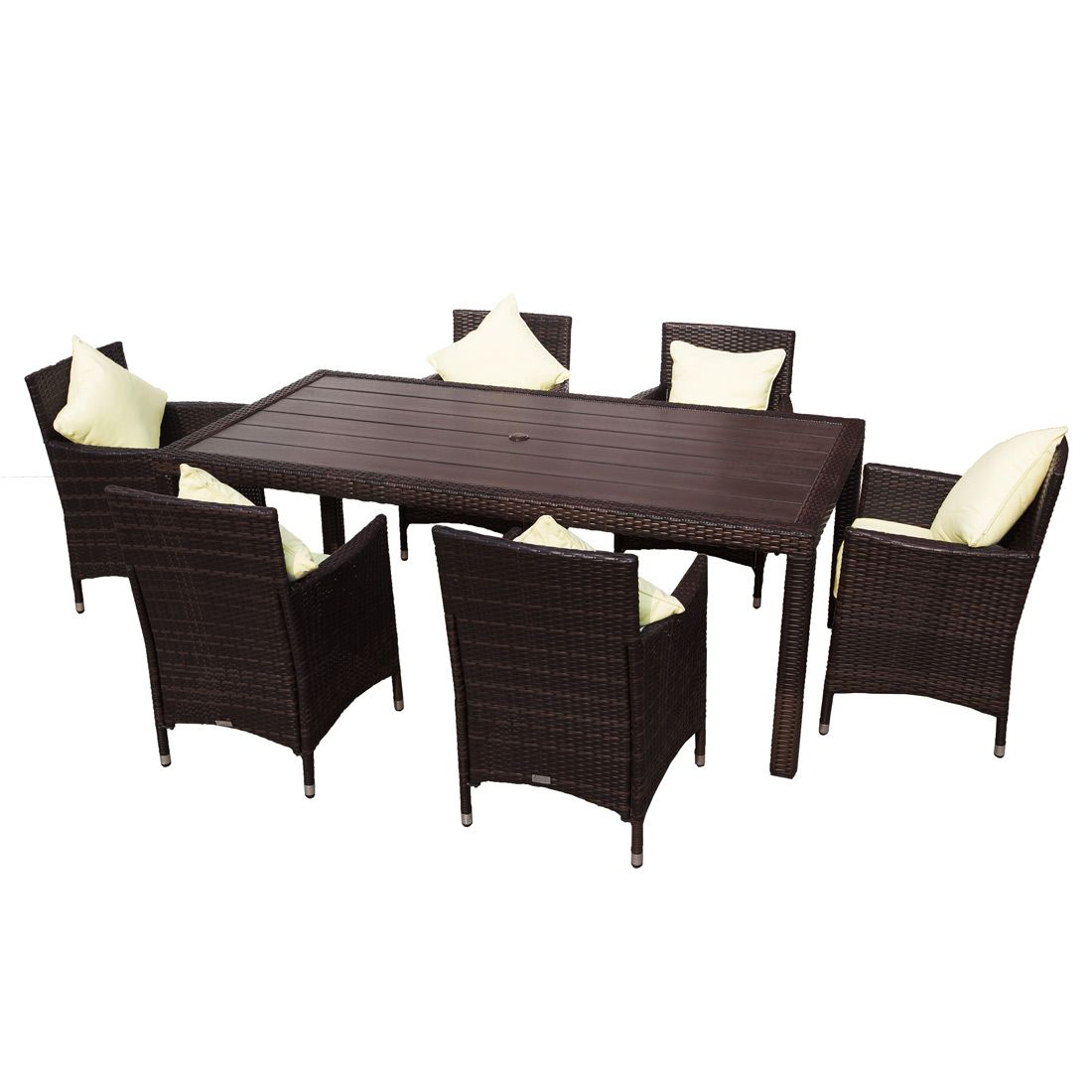 Buy morocco 7 piece pe wicker outdoor dining set brown with faux timber table online