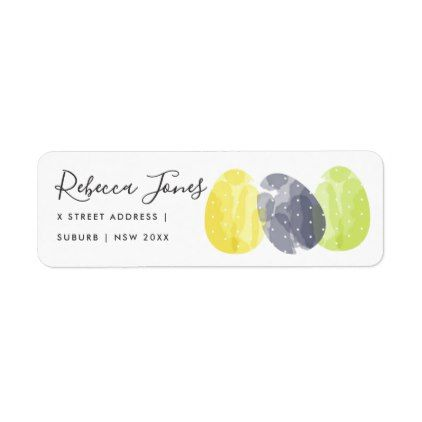 Modern colorful watercolor easter eggs address label romantic modern colorful watercolor easter eggs address label romantic wedding gifts wedding anniversary marriage party negle Image collections