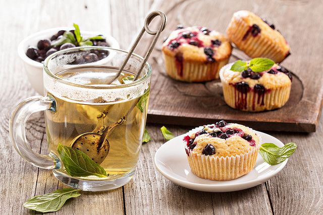 Muffins with black currant by fahrwasser, via Flickr