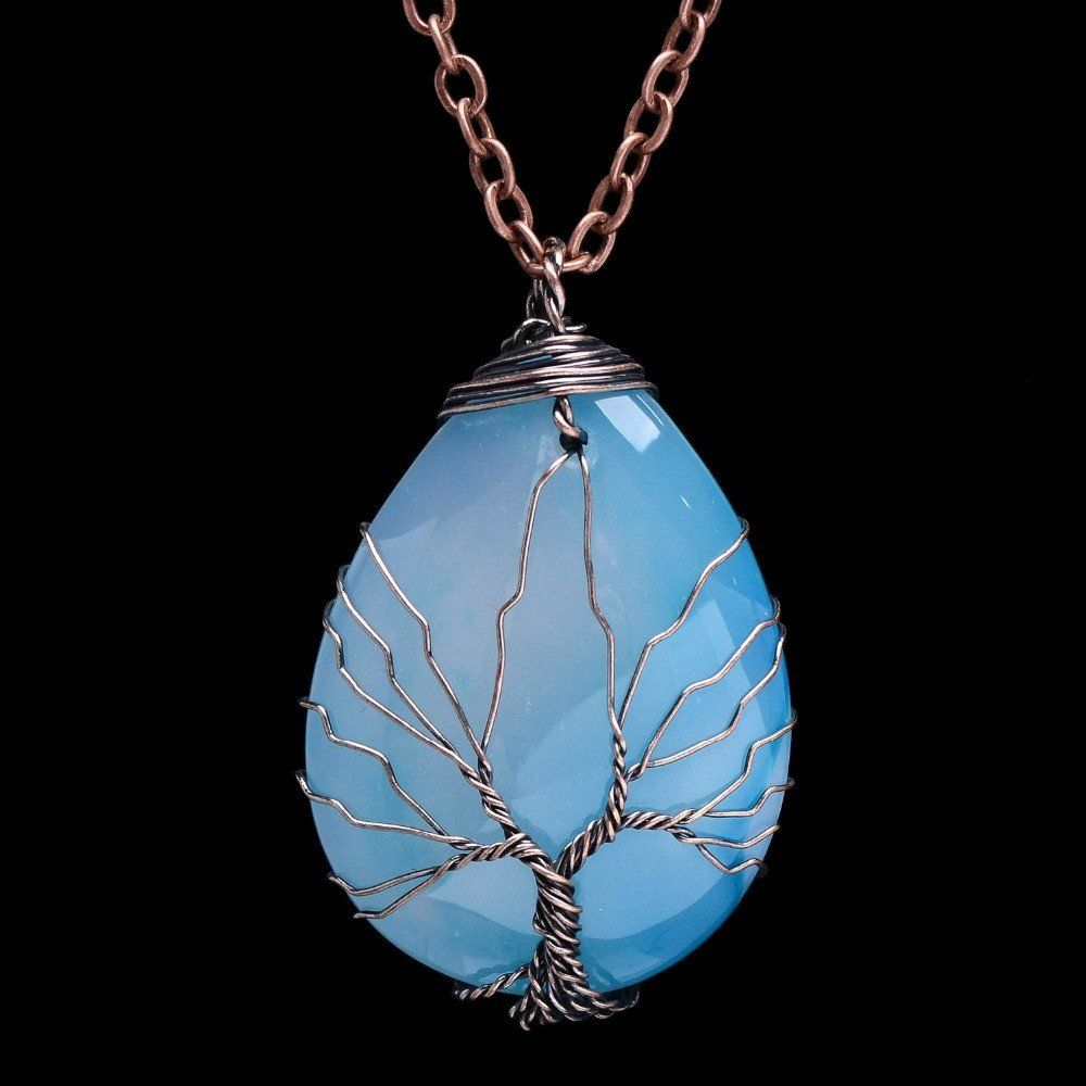 Blue Agate Tree of Life Wire Wrapped Teardrop Pendant Necklace ...