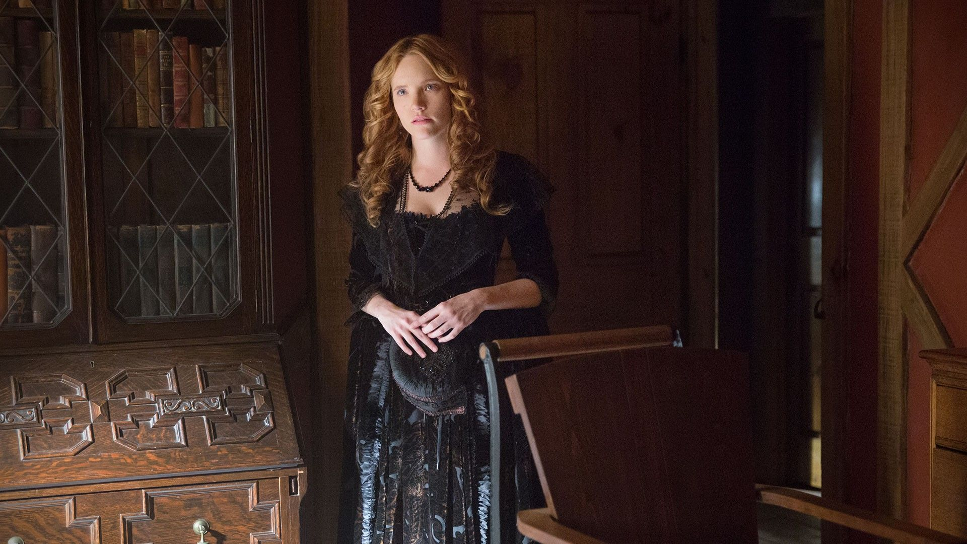 Anne Hale wearing a dress made in our workroom. Salem season 3 ...