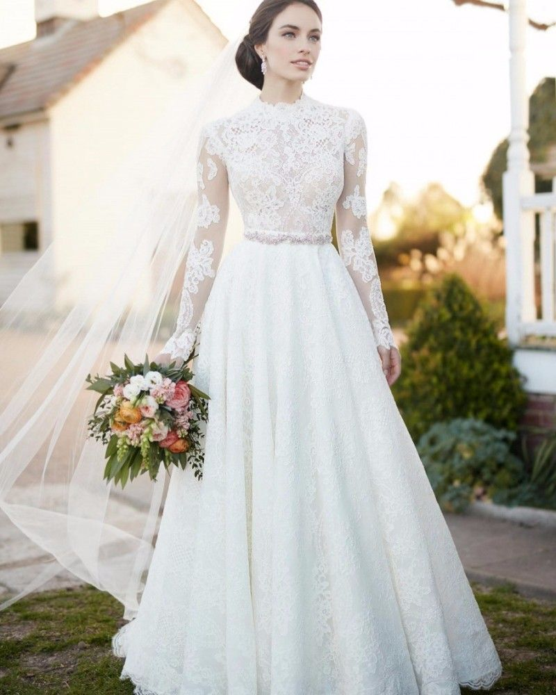 Click to buy ucuc wejanedress white lace o neck long a line bridal