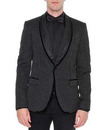 Shawl-Collar+Dot-Print+Velvet+Evening+Jacket,+Black+by+Dolce+&+Gabbana+at+Neiman+Marcus.