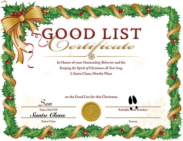 Blank+Santa+Nice+List+Certificates fall festival Pinterest