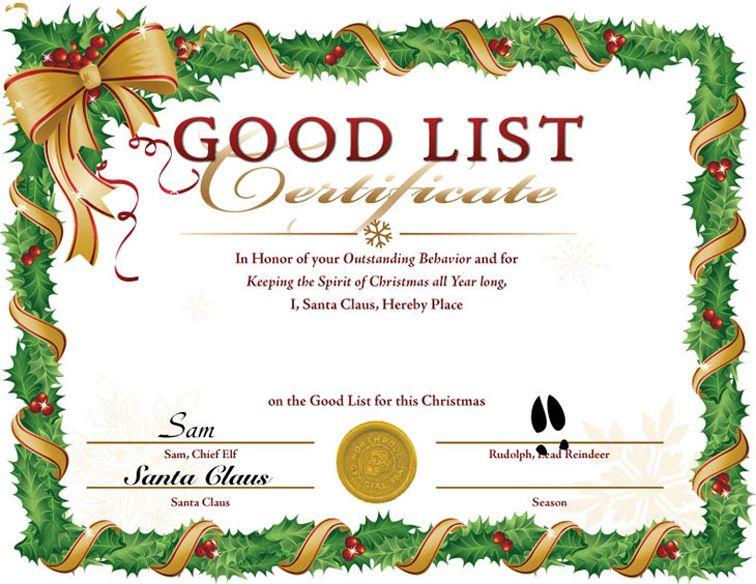 Blank Santa Nice List Certificates