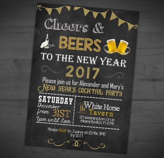 Chalkboard New Year's Eve Invitation