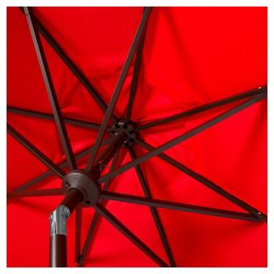 Milan Fringe 9' Crank Outdoor Auto Tilt Umbrella - Red/White - Safavieh