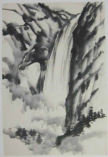 40 Ink Painting Ideas For Inspiration: Chiura Obata - Yosemite Falls, 1930-40