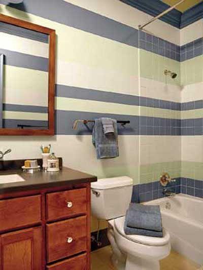Ba o decoraci n azul tonos tierra dise o azulejos - Pintar baldosas de bano ...