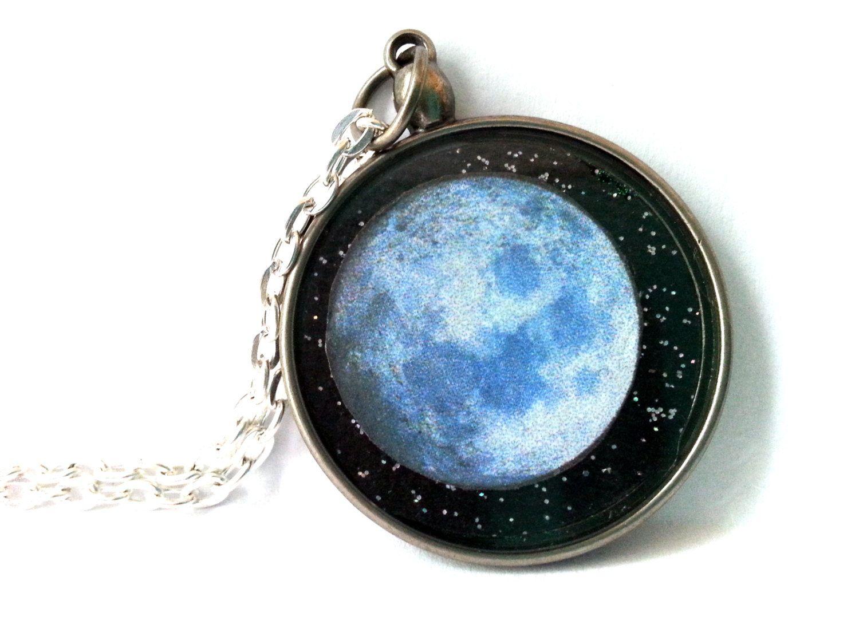 Moon Necklace, Full Moon Necklace, Full Moon Pendant, Space Pendant, Celestial Jewelry, Wolf Moon Necklace, Outer Space Necklace, Moon - pinned by pin4etsy.com