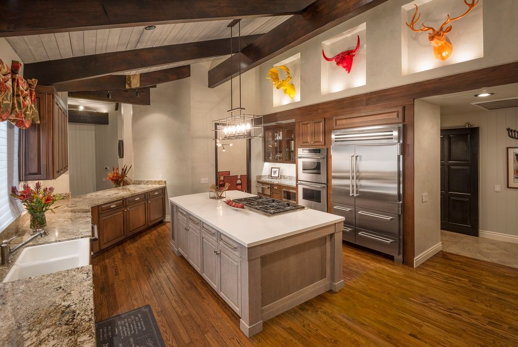 rustic decor recesses above cabinets rustic kitchen with exposed beam raised panel - Raised Panel Kitchen Decor