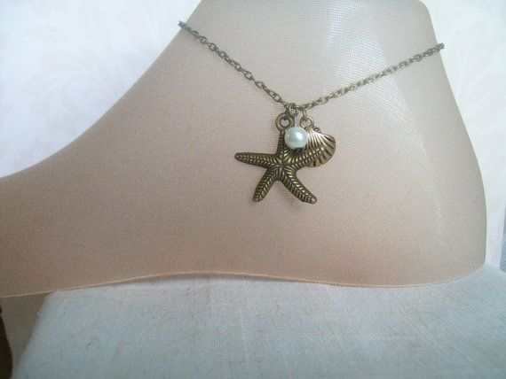 Bronze Starfish Anklet Bronze Shell Anklet Beach by JypsyJewels