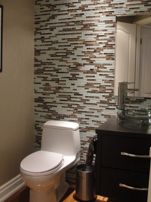tile accent wall | skinny glass tile accent wall in bathroom