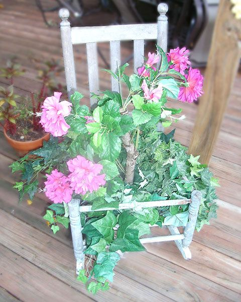 Shabby Chic Rocker with Flowers