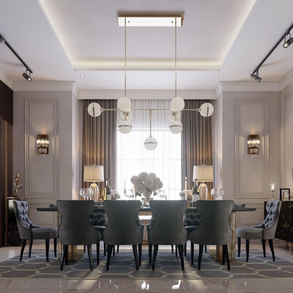neoclassic villa interior design on Behance | Neoclassical interior design,  Interior design dining room, Contemporary interior design living room