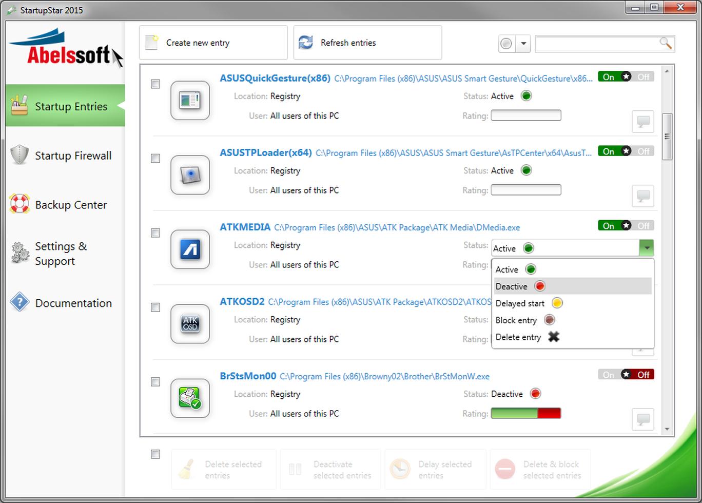 برنامج Startupstar لتسريع اقلاع نظام تشغيل ويندوز Start Up Backup Registry
