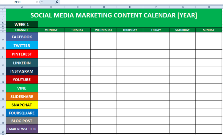 Social Media Content Calendar Template Excel Business Pinterest