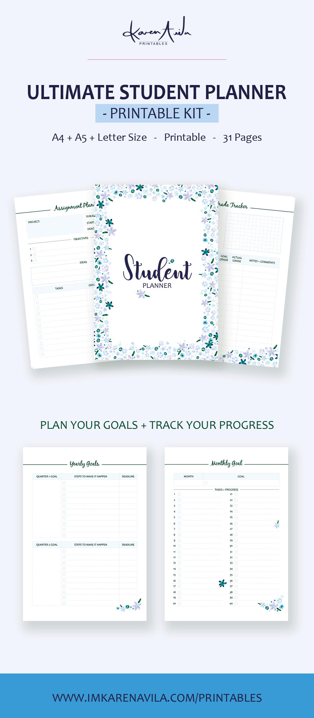 printable student planner