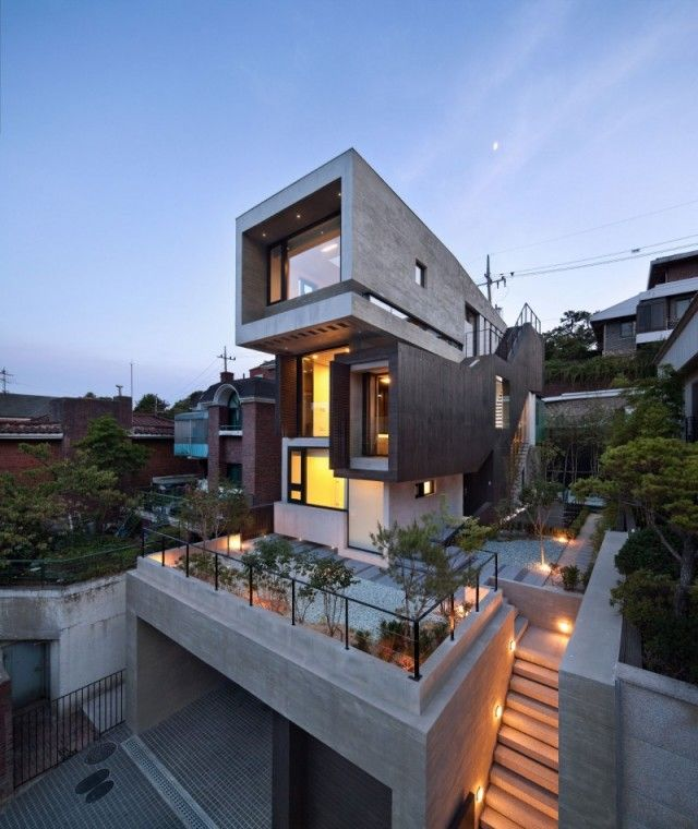 Architecture project the h house the korean design group bang by min and architect sae min oh created the h house in seoul korea the modern house is s