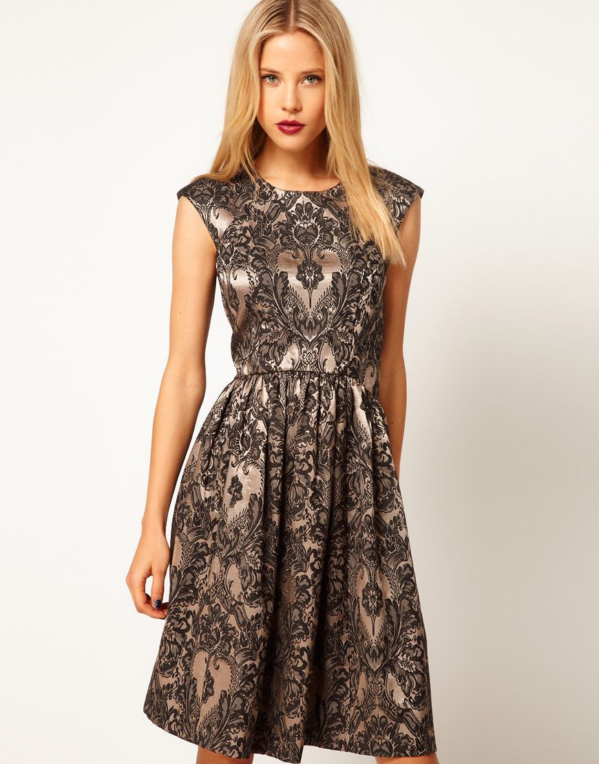 Asos baroque print dress style pinterest printing flared